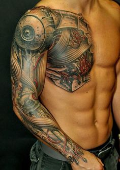 Biomechanical tattoos are so much popular tattoo style amongst men .Biomechancial tattoos are the tattoo designs for those who loves imagination and creativity .This kind of tattoo style idea begin from that movies in which . Cyborg Tattoo, Armor Tattoo, Cool Shoulder Tattoos, Mens Shoulder Tattoo, Trendy Tattoos, Tattoos For Guys, Cool Tattoos, Men Tattoos, Best Tattoos For Men