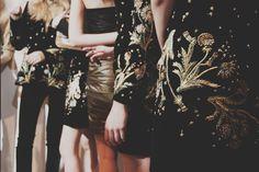 Topshop Unique AW15 Womenswear Dazed backstage gold flower