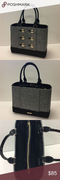 """Kate Spade Button Purse Felted, 2 tone purse. Patent handles measure 17"""" end to end. 10"""" high 4.5"""" deep 14"""" wide. Center zip pocket, excellent condition!! kate spade Bags Totes"""
