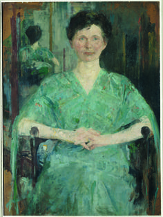 Woman in a Blue Dress - by Olga Boznanska (b. 1865); oil on cardboard; donated by Mr. & Mrs. Alexander R. Koproski, 1977.