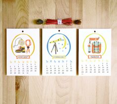 Adventure of the Month 5x7 2013 12 month mini hanging calendar Moonrise Kingdom Inspired Outdoorsy illustrations gift under 15. 14 dollars, via Etsy.