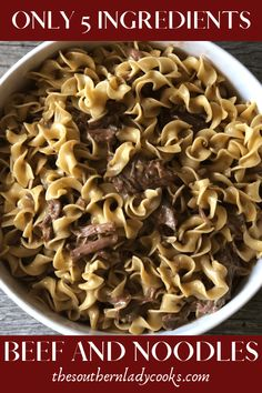 crockpot recipes BEEF AND NOODLES - The Southern Lady Cooks-Delicious crock pot recipe with only 5 ingredients. Vegetarian Crockpot Recipes, Crockpot Dishes, Crock Pot Cooking, Beef Dishes, Slow Cooker Recipes, Cooking Recipes, Beef Crock Pots, Crockpot Meat, Dinner Crockpot