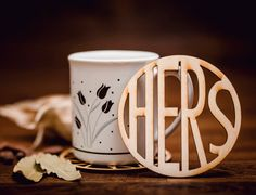 HERS-Wooden Coaster for mug-laser cut-for tea or coffee Wooden Coasters, Laser Cutting, Coffee Cups, Tea, Mugs, Drinks, Tableware, Unique Jewelry, Handmade Gifts