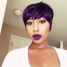 HAIRSPIRATION| Love the color on this #pixie unit @trendy_kay ✂️ Purple passion #voiceofhair ========================== Go to VoiceOfHair.com ========================= Find hairstyles and hair tips! =========================