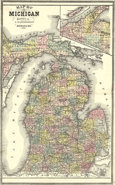 Michigan State 1895 by S. Wangersheim Historic Map. A wide and growing selection of inexpensive reprints of rare Historic Maps are available from Hearthstone Legacy Publications at: http://www.hearthstonelegacy.com/Historic-Map-Reprints.htm