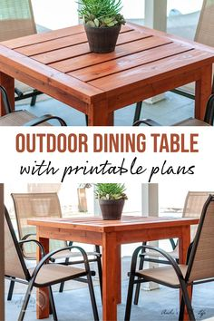 Learn how to make a simple DIY outdoor dining table with full plans, tutorial, and video. This DIY Outdoor table uses only structural 2×4 and 2×6 lumber. #DIYfurniture #beginnerwoodworking #AnikasDIYLife Scrap Wood Projects, Woodworking Projects That Sell, Diy Furniture Projects, Easy Diy Projects, Diy Woodworking, Project Ideas, Diy Outdoor Table, Outdoor Dining, Simple Dining Table