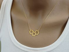 Honeycomb geometric necklace, Geometric jewelry, Modern jewelry, Hexagon necklace, Geometric pendant, Layering necklace