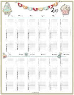 Birthday List Template Free Beauteous Free Printable Birthday List Planer  Pinterest  Free Birthday .