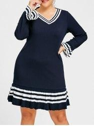 #Gamiss - #Gamiss Bell Sleeve Striped Plus Size Sweater Dress - AdoreWe.com