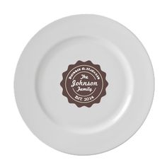 Classic White Personalized 11'' Porcelain Dinner Plate $45