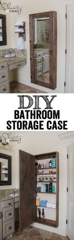 DIY Bathroom Organization Cabinet with full length mirror…. LOVE THIS IDEA!