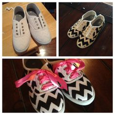 Easy, DIY! $6 shoes, sharpie, colorful ribbon