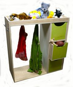 Modern child dress up station with mirror and bins