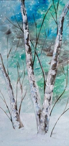 "Textured Birch Tree painting (12""x 24"" Canvas with Glitter Glaze). Awesome painting idea. Pretty blue green sky against white snow."