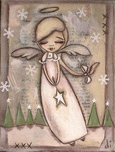 Print of my original folk art mixed media painting by DUDADAZE Christmas Angels, Christmas Art, Angel Drawing, I Believe In Angels, Angel Pictures, Theme Noel, Angel Art, Paper Angel, Arte Popular
