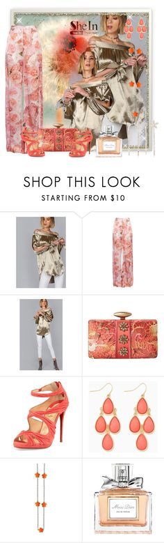 """""""Shein Apricot Tie Sleeve Top Contest"""" by rainheartcreations ❤ liked on Polyvore featuring TWISTY PARALLEL UNIVERSE, Mary Frances Accessories, Christian Louboutin, Christian Dior and Cara"""