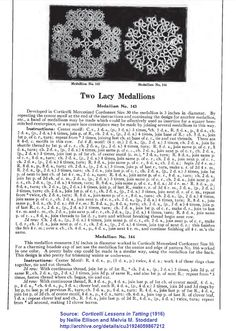 Source:  Corticelli Lessons in Tatting (1916) by Nellie Ellison and Melvia M. Stoddard   http://archive.org/details/cu31924059867212