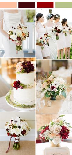 elegant fresh white, burgundy and peach spring wedding colors