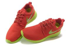 Nike Roshe Run Mesh Rood Appelgroen Damesschoenen