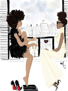 Love this picture- black girls talk in Parisian Balcony http://www.shorthaircutsforblackwomen.com/african-dresses/