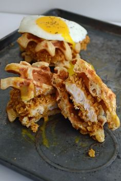 Chicken and Waffle Sliders with Maple Honey Mustard by sarcasticcooking #Sliders #Waffle #Chicken Mustard Recipe, Honey Syrup, Maple Syrup, Fried Eggs, Chicken And Waffles, Baked Chicken, Chicken Recipes, Waffle Sandwich, Chicken Sliders