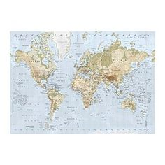 Vintage map of the world 30 x 465 print on canvas pinterest new ikea premiar world map picture with framecanvas large 55 x 78 inches ikea publicscrutiny Image collections