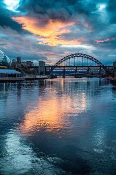 Tyne Bridge sunset reflections.