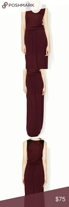 """BELLA LUXX Los Angeles Panelled Maxi Dress Knit silk-blend jersey dress Color: amethyst with black  * Contrast silk combo panel at shoulder * Scoopneck * Elasticized waist * Tonal top stitching and panel seaming   Measurements: * 60"""" from shoulder to hem * Model's height is 5 feet 9 inches  Care: Dry clean only  Material: 90% modal and 10% silk shell; 100% silk combo  Brand: BELLA LUXX Los Angeles  BRAND NEW WITH TAGS Dresses Maxi"""