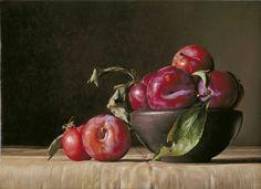 Ciotola con Prugne - 2012 olio su tavola cm 25x35 © Gianluca Corona