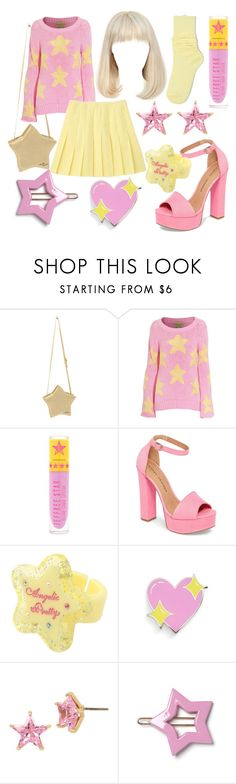 """""""Pink and Yellow Stars"""" by oh-kei ❤ liked on Polyvore featuring Wildfox, Jeffree Star, Chinese Laundry, Big Bud Press, Betsey Johnson, stars and kawaii"""
