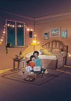 'Cozy nights and Netflix. Love Cartoon Couple, Cute Couple Comics, Cute Couple Art, Anime Love Couple, Couple Illustration, Illustration Artists, Couple Drawings, Love Drawings, Painting Love Couple