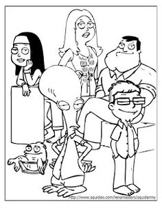 American dad coloring pages logo Adult Cartoon Colouring Pages