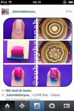 How to ombre and watermarble nails.... this is cute but again it looks IMPOSSIBLE
