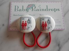 Queens Guard British Stamp pony tail holders make by Baby Raindrops.