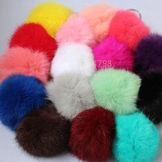 16 Colores Bola de la Piel Verdadera 8 cm Pompón Llavero Coche Llavero Conejo Pompones de Piel de la Marca Encantos Del Bolso Con Cadenas de Bola Llavero De piel llavero