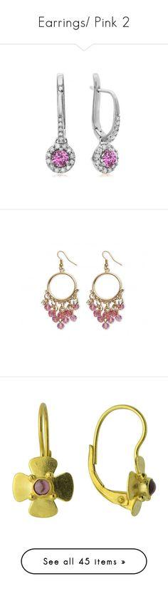 """Earrings/ Pink 2"" by thesassystewart on Polyvore featuring jewelry, earrings, white, hinged earrings, white gold drop earrings, round drop earrings, white diamond earrings, dangle earrings, tourmaline jewelry and artificial jewellery"