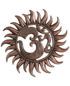 Metal Om Sun Wall Hanging with Copper Colored Finish