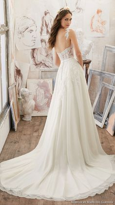 morilee spring 2017 bridal spagetti strap sweetheart neckline heavily embellished bodice romantic modified a line wedding dress chapel train (5514) bv