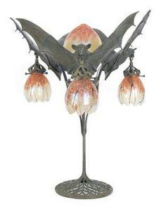 Orange and silver bat lamp