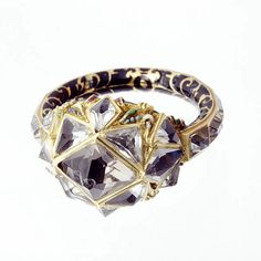 Beautiful Renaissance diamond ring in gold with polychrome enameling. c. 1580. Currently at Ranger's House, England