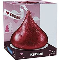 Valentines Day Gift...a 12oz Hersheys Milk Chocolate Giant Kiss in Red Valentines Foil