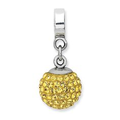 IceCarats Sterling Silver Reflections Nov Swarovski Elements Ball Dangle Bead | Jewelry | Accessories | Charm Bracelet | Fashion | Gift | #IceCarats | See More - www.IceCarats.com
