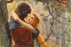Tristan and Isolde Postcard (Artist unknown)