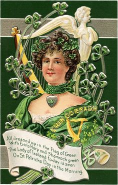 Vintage Lady of Ireland Image! Fun to use in St Patrick's Day Craft or Card projects. From Graphics Fairy.