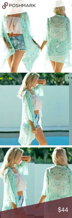 """🎉 Sheer Green Floral Kimono 🎉 Adorable soft and sheer soft-green floral print summer kimono. Only two left. Last two photos are the actual item. Shoulder-to-shoulder measures approx 16""""-----length of back portion: approx 27 1/2--------length of front (longest portion): approx 34"""".                          🚫Trades 🚫Off Posh Transaction  🚫Lowball Offers Tops Blouses"""