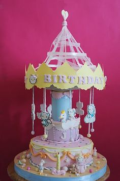 Hello Kitty Carousel Cake (It rotates with music!)
