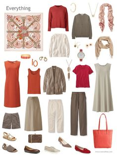 a travel capsule wardrobe in brown, beige, orange and red. I do wish I could wear this color pallet. I'm stuck with things that go with the blue bit of the color wheel.