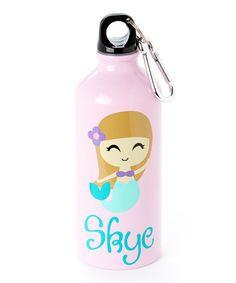 Loving this Pink Dark Haired Mermaid Personalized 20-Oz. Water Bottle on #zulily! #zulilyfinds