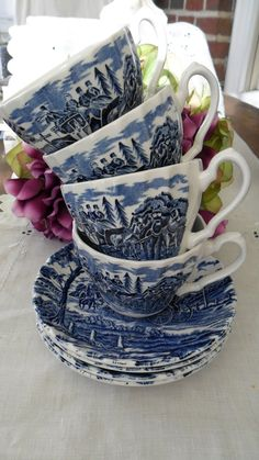 Vintage Staffordshire Teacups Saucers Myott Royal Mail Blue and White China Cups Cottage Chic