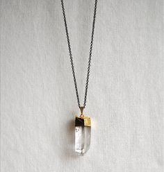 Crystal Necklace - Gold Dipped Raw Quartz - LARGE - Handmade Jewelry - Free Shipping in the US - Valentine's Day Jewelry. $40.00, via Etsy. Quartz Crystal Necklace, Crystal Pendant, Crystal Jewelry, Gold Necklace, Uni Outfits, Jewelry Box, Jewelry Making, James Avery, Large Crystals